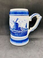 Vintage Delft's Holland Mug, Blue Ceramic Hand Painted Windmill Landscape Handle