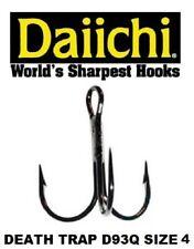 Daiichi Replacement Treble Hooks D93Q Light Wire Death Trap Black Nickel Size 4