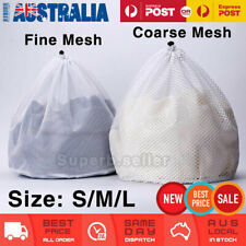 Laundry Washing Mesh Net Bags Coarse/Fine S/M/L Drawstring Cleaning Clothes