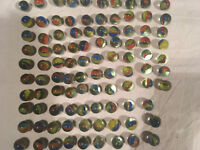 VINTAGE Lot MARBLES red blue yellow CAT'S EYE Lot of 97 plus 2 SHOOTERS