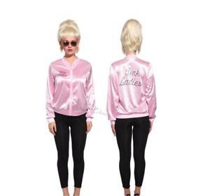 Ladies Pink Grease Satin Jacket Women Hen Night Party Fancy Dress Costume New UK