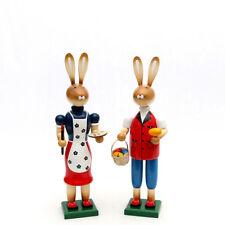 Conejo de Pascua Par PINTOR 38cm Decoración Madera COLORES 25143