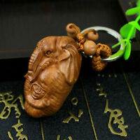 Lucky Elephant God Ganesha Statue Wood 3D Carving Sculpture Pendant Key Chain