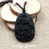 100% Natural Black Obsidian Jade Pendant Necklace Hand-Carved Dragon-Phoenix V52