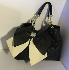 Betsey Johnson Handbag Large Bow Black White Chain Hearts Multi- Compartment