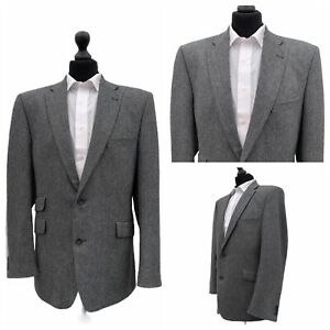 Mens Jacket Blazer Chest 44 Reg Grey Herringbone Smart Formal  P55