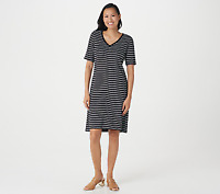 Isaac Mizrahi Live! Essentials Striped Elbow Sleeve Dress Black Size X-Large