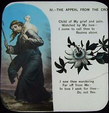 Glass Magic Lantern Slide CHRISTIAN RELIGIOUS TEXT NO6 C1900 WITH FLOWERS