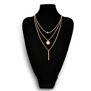 Women Chic Geometry Charms Crystal Diamante 3 Layers Gold Chain Necklace