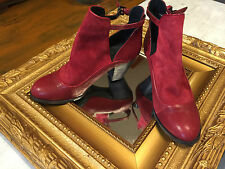 PLOMO FERNANDA RED LEATHER  & SUEDE ANKLE BOOTS BOOTIES 38 7 HEEL LN