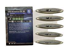USS Archerfish (SS 311) 5 Minis 1 Card Axis & Allies War at Sea Task Force 21/60