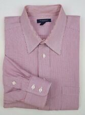 Burberry London Shirt 16 34 Red White Striped Mens Size Usa Button Front Sz Man*