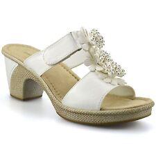 Ladies Womens Mid Block Wedge Heel Slip On Summer Beach Mules Sandals Shoes Size