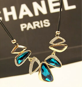 Women Fashion Jewelry Short Chain Leather Necklace Gemstone Pendant Accessories