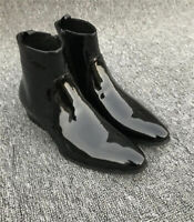 Handmade Mens Patent Leather Boot Black Chelsea Pure Leather Sole Zipper Shoes