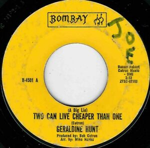 """NORTHERN SOUL - GERALDINE HUNT - TWO CAN LIVE CHEAPER THAN ONE - BOMBAY - """"HEAR"""""""