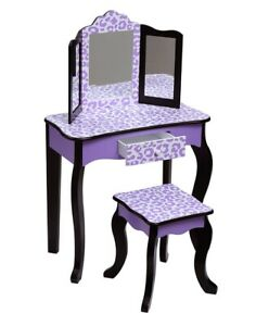 Teamson Kids Pretend Play Kids Vanity Table and Chair Vanity Set with Mirror
