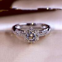 Luxury Round Cut White Sapphire CZ Flower Ring 925 Silver Womens Wedding Jewelry