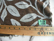 Brown Light Taupe Leaf Print Chenille Fabric / Upholstery Fabric 1 Yard R113