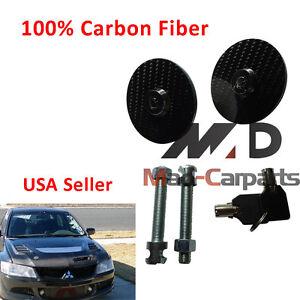 Carbon Fiber Hood Pin Lock + Key For BMW 535I M3 Mustang Nissan 300ZX Sunbird