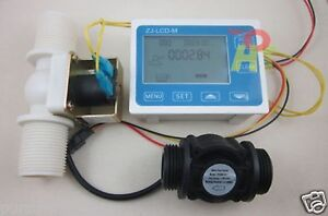 "G1"" Water Flow Control LCD Display+Flow Sensor Meter+Solenoid Valve Gauge"