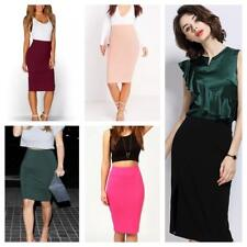 Ladies Women Plain Midi Skirt Office Skirt Stretched Material Sexy and Comfy
