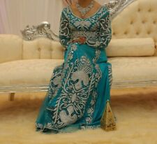 Asian Embellished Turquoise Bridal Gown with Belt