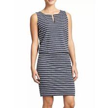 77a4843f0be58 Athleta Gray and White Striped Linen Blend Sleeveless Vida Dress Women s S