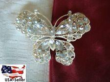 Clear Rhinestone Silver Tone Butterfly Brooch Pin Great Gift USA Shipper