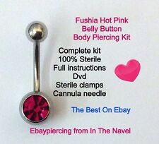 Body piercing kit. belly button, FUSHIA, HOT PINK. Professional sterile kit.