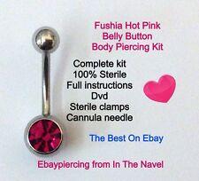 Kit piercing del cuerpo. el Ombligo, Fuxia, Rosa Intenso. profesional estéril Kit.