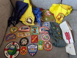 lot of vintage Boy Scout patches , handkerchiefs 1960's 1970's Detroit MI NR!