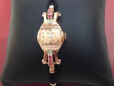 Ladies 14k Rose Gold with Red Rubies Estate Wrist Watch