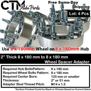 """4PC 2"""" THICK 8x180mm to 8x180mm WHEEL SPACER ADAPTER FIT GMC CHEVY 2500/3500 SRW"""