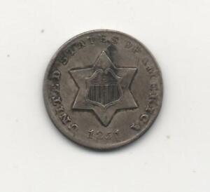 1851 Three Cent Silver Fine Details