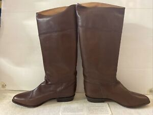 VTG ITALY LEATHER UPPER MAN MADE SOLE Boots Brown SZ 11b DEADSTOCK FIFTH AVENUE