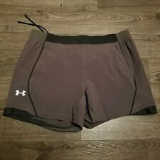 UNDER ARMOUR Speed Pocket Running Shorts Mens Size 2XL XXL Grey Reflective 6""