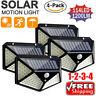 4*114 LED Solar Powered PIR Motion Outdoor Garden Light Security Flood Wall Lamp
