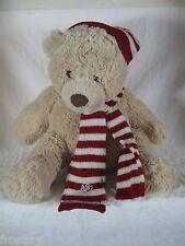 Aeropostale Teddy Bear Red White Hat Scarf  Plush Lovey Baby Kids Beige  A87