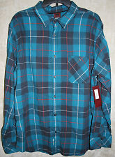 NEW Hawk Long Sleeve Button front shirt Blue Plaid 1 Pocket XXL mens