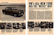 1962 VW / VOLKSWAGEN 1500   ~  ORIGINAL 7-PAGE  ARTICLE / AD