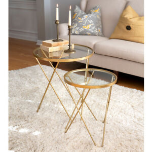 2 Side Tables with Glass Tops in Gold trim