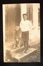 1910 Real Photo, Divided Back Postcard - Boy & His Dog On Doorstep