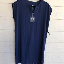NWT Women's Bobeau Split Neck Navy Blue Dress Sz Medium