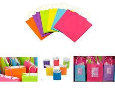 Colorful Kraft Paper Bags Matte Gift Bags  Handles Party Treat Favor Bags LOT