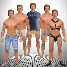 Anatomically Correct Red Haired Gym Bodybuilder Paper Doll Muscle Leather Jock