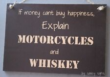 Motorcycles and Whiskey Sign - Biker Shed Bar Garage Man Cave Wooden BBQ Moto GP