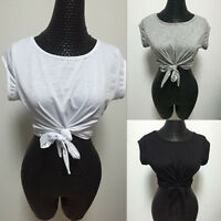 Women's Summer Solid Color Knotted Tie Front Crop Top T Shirt Casual Blouse
