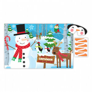 Christmas Pin the Nose on Snowman Childs Party Game Kids Family Fun Activity