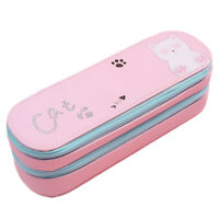 Canvas Pencil Case Large Capacity Pencil Pouch Double-Layer Bag With Zipper Good